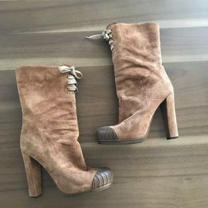 Fendi Lace Up Suede Booties